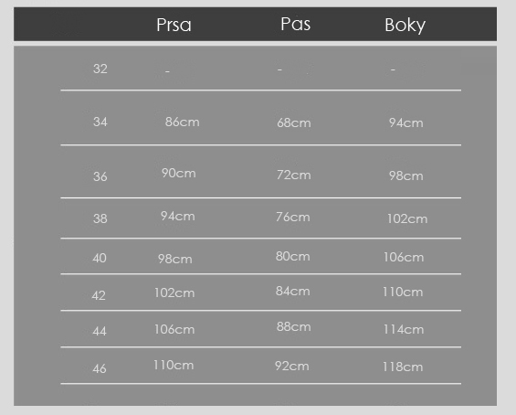 tabulka s rozměry