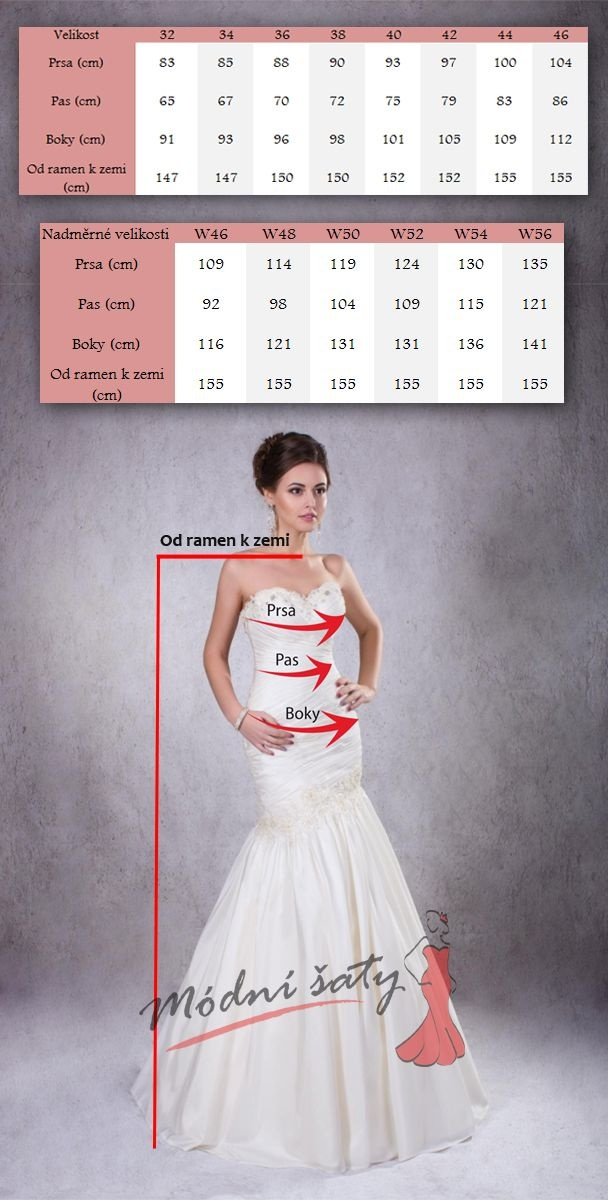 tabulka velikostí svatební šaty