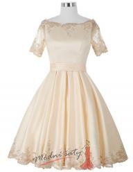 Vel. 44.- Saténové elegantní šaty s rukávky