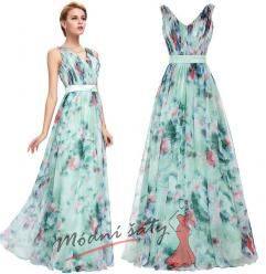 Vel. 46.- Světle modré společenské šaty s květinovým vzorem