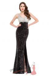 Vel. 34.- Elegantní večerní šaty se stříbrnými a černými fli