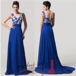 Vel. 34.- Tmavě modré květinové šaty na ples
