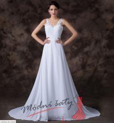 Vel. 34.- Bílé svatební šaty s krajkou a výstřihem do V
