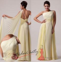 Vel. 34.- Žluté plesové šaty se závojem