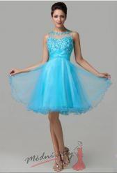 Vel. 36.- Krátké plesové šaty v s vyšívaným vrškem