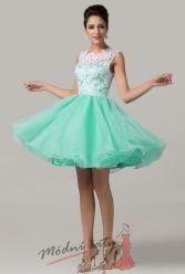 Koktejlové šaty se zelenou sukní a bílou krajkou