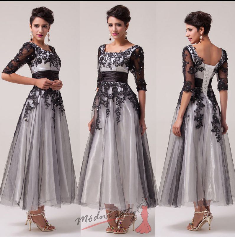 Dlouhé společenské šaty černé s krajkou f5dd357e30a