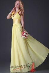 Vel. 44.- Žluté plesové šaty za krk