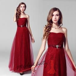 Vínově červené šaty s mašlí v pase