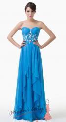 Vel. 32.- Nebesky modré plesové šaty bez ramínek
