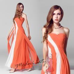 Oranžové plesové šaty