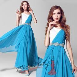 Dvoubarevné plesové šaty se stříbrnými kvítky