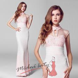 Perličkové plesové šaty s krajkou