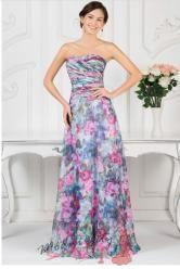 Květinové šaty bez ramínek ve dvou vzorech