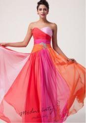Duhové plesové šaty