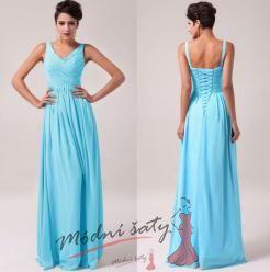 Modré plesové šaty s výstřihem do V.