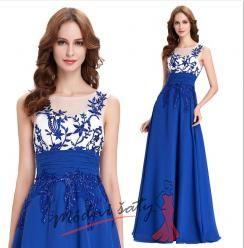 Vel. 46.- Modré večerní šaty s průhledným živůtkem