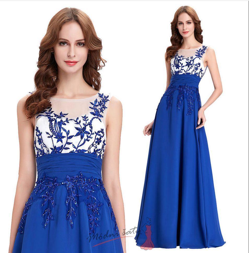 Modré večerní šaty s průhledným živůtkem 79a2045ea5