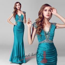 Tyrkysové elastické šaty s kamínky