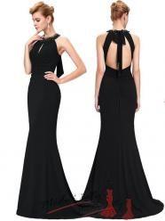 Elegantní večerní šaty s mašlí za krkem