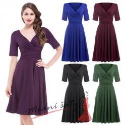 Letní šaty s volnou sukní a delším rukávem