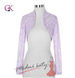 Krajkový kabátek k šatům lila