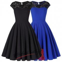 Letní šaty s volnou sukní a krajkovým vrškem