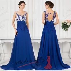 Modré večerní šaty s průhledným živůtkem