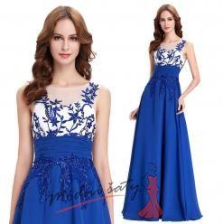 Vel. 38.- Modré večerní šaty s průhledným živůtkem