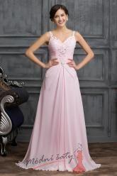 Růžové šaty do tanečních s kamínky