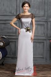 Bíločerné společenské šaty s květinou