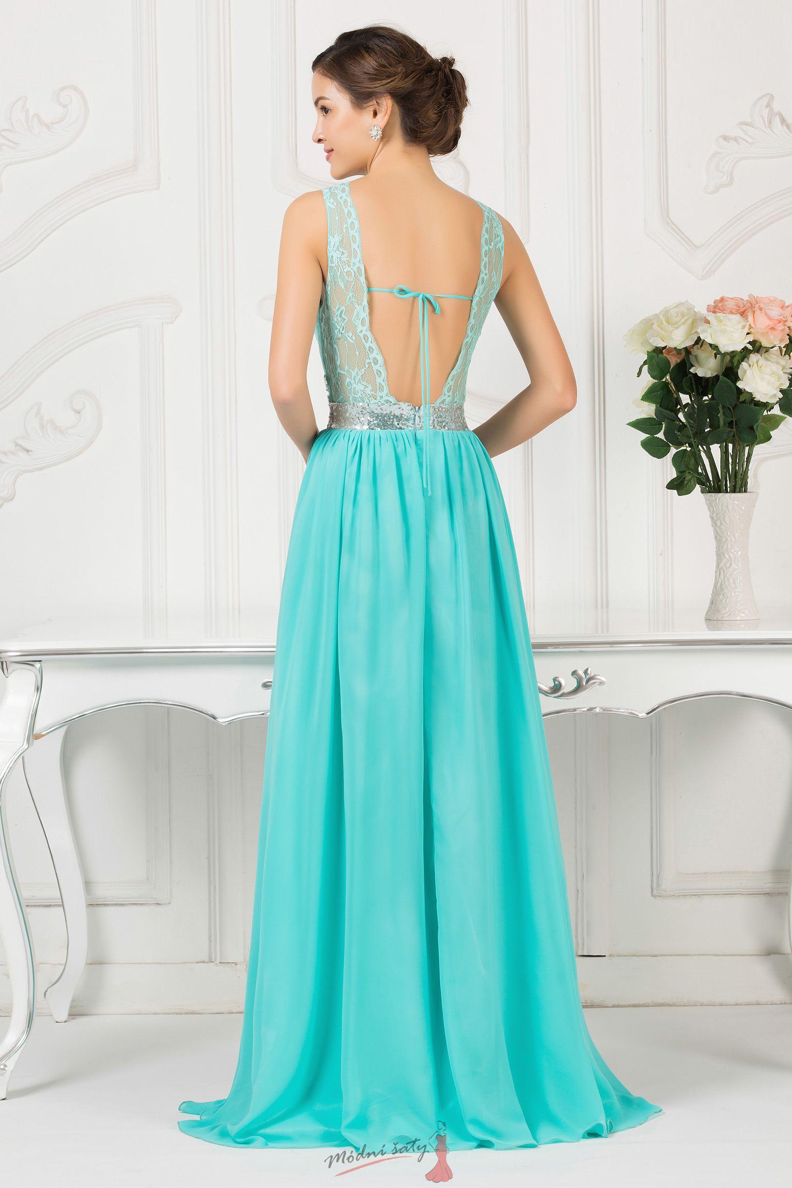 Dlouhé tyrkysové šaty na ples s krajkou 9145adab25