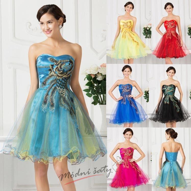 Paví koktejlové šaty - více barev fb5c84e116