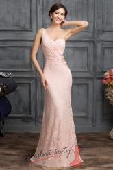 Růžové plesové šatičky s pásky na boku