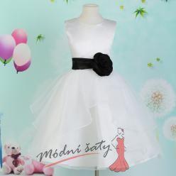 Šaty pro malou družičku bílé s černou stuhou