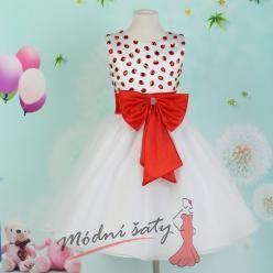 Šaty pro malou družičku s červenými kamínky a mašlí