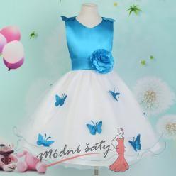 Šaty pro malou družičku s modrými motýlky