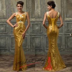 Večerní šaty s flitry na širokých ramínkách - více barev