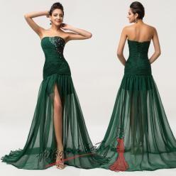 Tmavě zelené společenské šaty s průsvitnou sukní