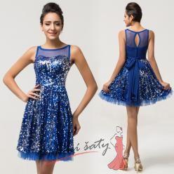 Tmavě modré koktejlové šaty s flitry