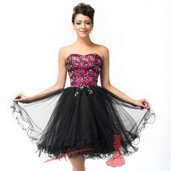 Koktejlové šaty s tylovou sukní a růžovým korzetem