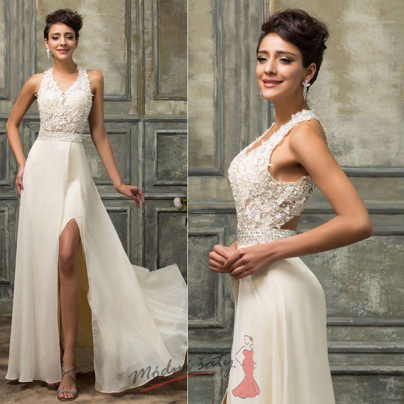 Bílé společenské šaty s krajkovým vrškem a odhalenými zády 084aded070