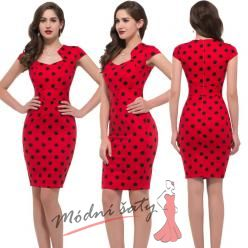 Úzké retro šaty s rukávky - 9 vzorů a barev