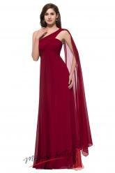 Tmavě červené plesové šaty se závojem