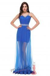 Plesové šaty modré s průhlednou sukní