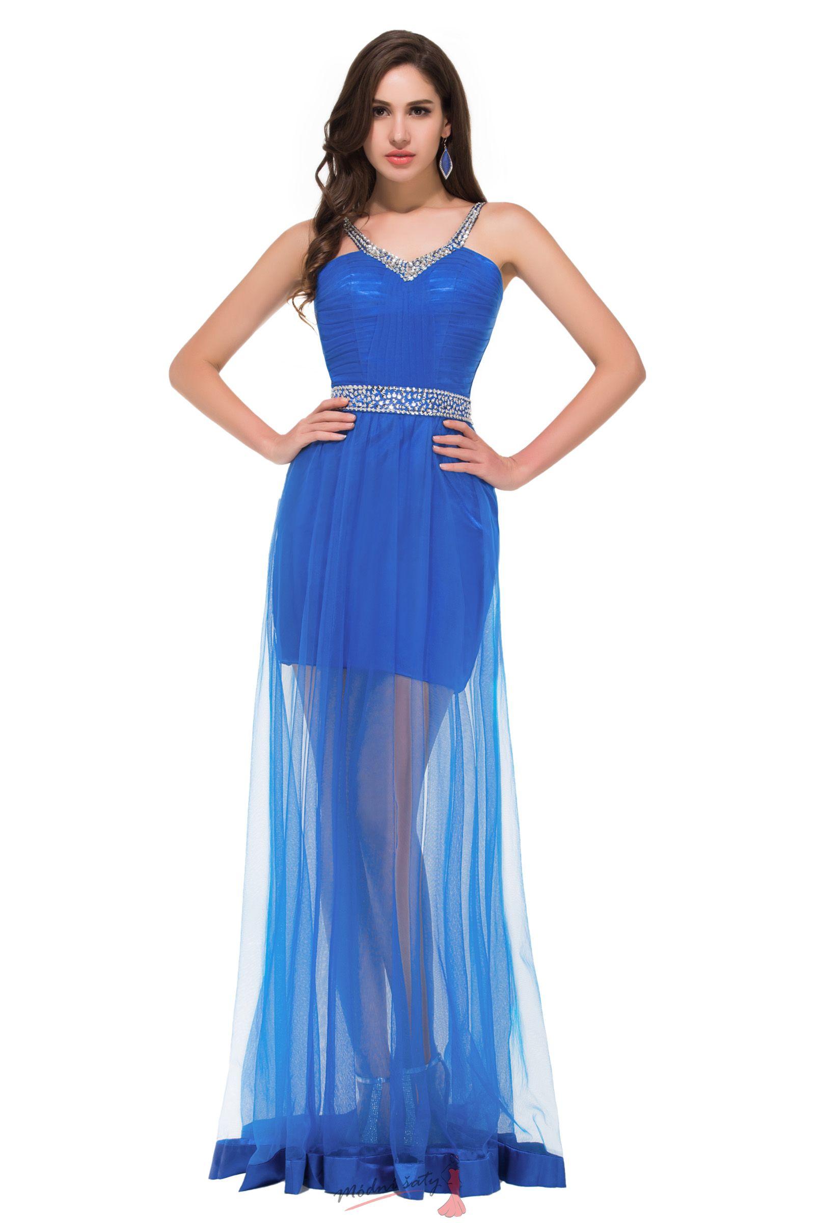 Plesové šaty modré s průhlednou sukní 8f721670f1