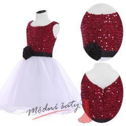 Šaty pro malou družičku s červeným flitrovým vrškem
