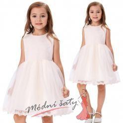Dětské šatičky s krátkou sukní a krajkovým vrškem