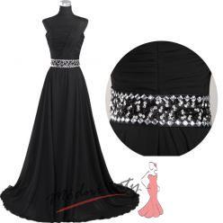 Černé večerní šaty s páskem s kamínky