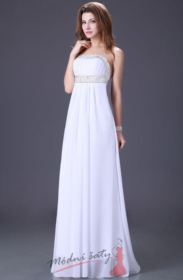 Plesové či svatební šaty holými zády – bílé e0e852cc19
